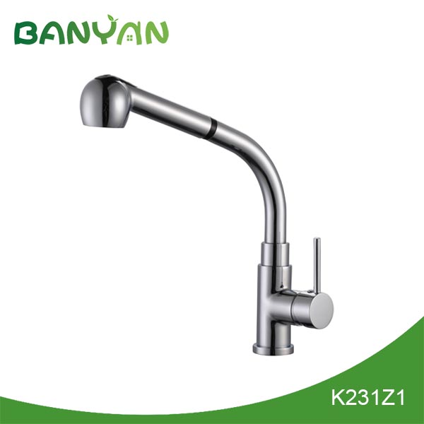 Long spout reach kitchen faucet