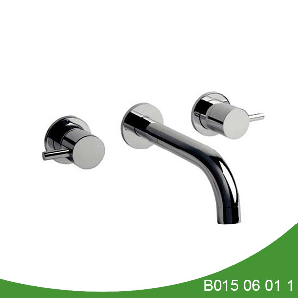 Double handle wall mount lavatory faucet