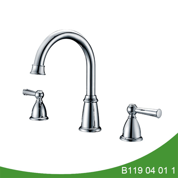 Widespread gooseneck bathroom faucet
