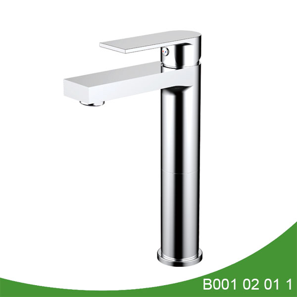 Single lever tall modern bathroom faucet