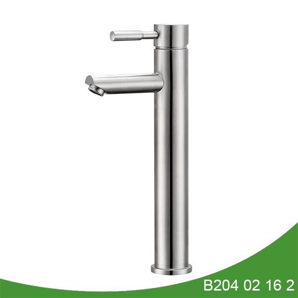 Single handle stainless steel tall basin faucet B204 02 16 2