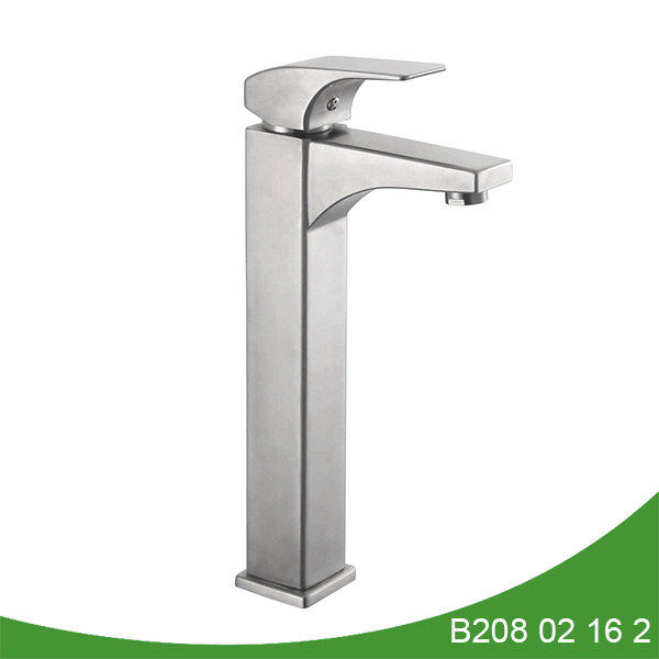 Single handle stainless steel tall basin faucet B208 02 16 2
