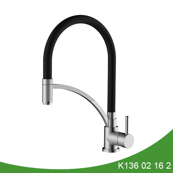 stainless steel single hole pull down kitchen faucet K136 02 16 2