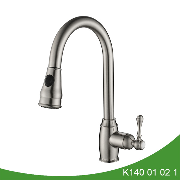 Brushed nickel pull out kitchen faucet K140 01 02 1