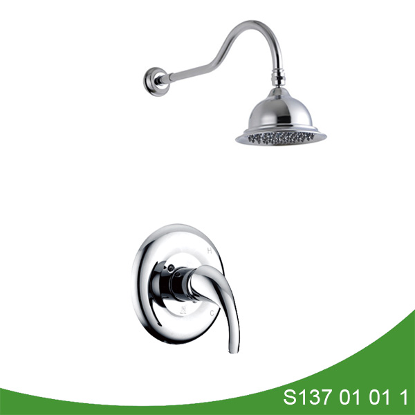 Wall mount shower faucet set