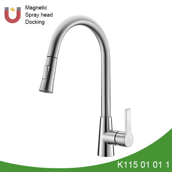 Brass single handle pull out kitchen faucet - K115 01 01 1