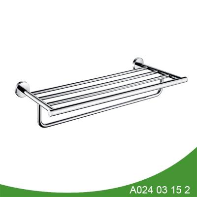 Hotel style bathroom shelf with towel bar