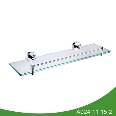 Bathroom glass shelf with rail
