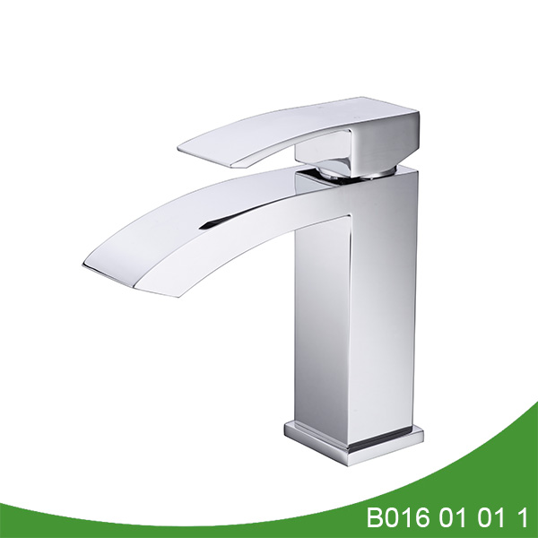 Waterfall spout bathroom faucet