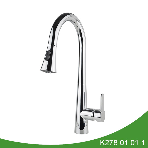Brass single handle pull out kitchen faucet K278 01 01 1