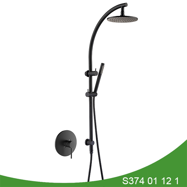 Matt black exposed shower set S374 01 12 1
