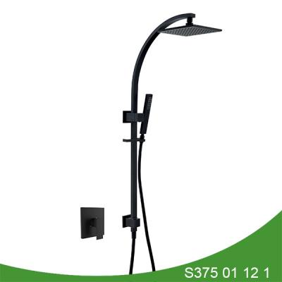 Matt black exposed shower set S375 01 12 1