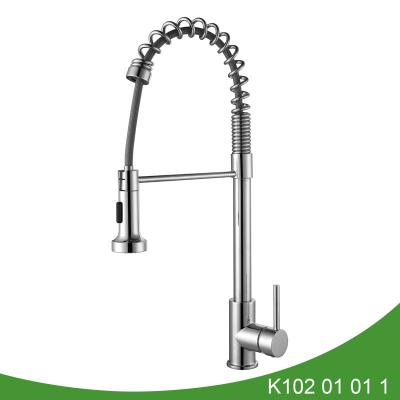 Spring pull out kitchen faucet