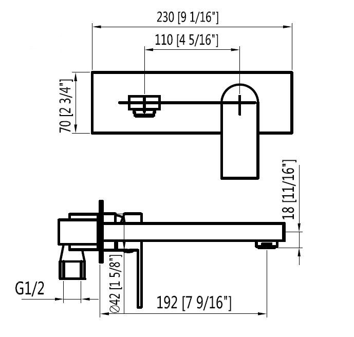 Wall mount bathroom sink faucet size